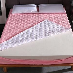 Novo seis lados all inclusive acolchoado capa de colchão de fibra macia almofada de topper simples cor sólida cama colchão protetor anti ácaro poeira|Capas de colchão e pinças| |  -