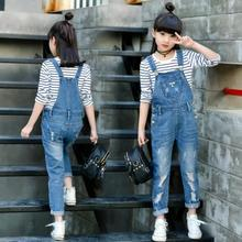 Kids Denim Overall for Girls Children Spring Autumn Suspenders Jeans Teenage Jumpsuit Casual Girls Hole Denim Overalls 3-14 Year