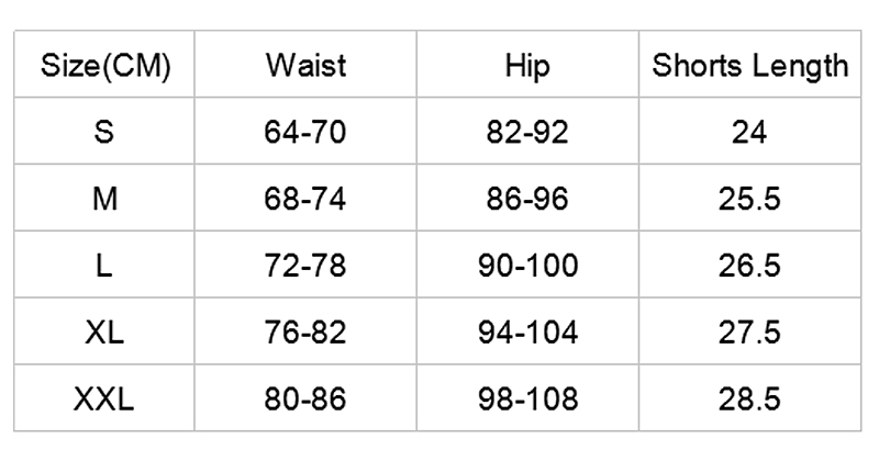 Women Exercises Shorts and Top size chart