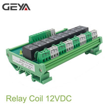 GEYA 8 Channel Interface Relay Module 12VACDC 24VACDC DIN Rail Panel Mount for Automation PLC Board
