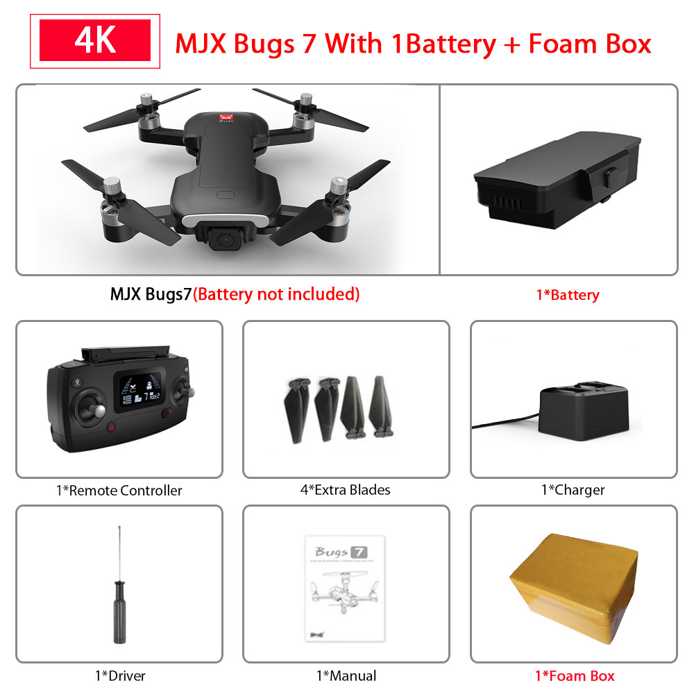 MJX bugs 7 B7 GPS Drone quadcopter with 4K video camera rc quadrocopter gps smart following multicopter VS E520S SG907