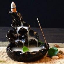 Criativo queimador de incenso titular cerâmica lótus backflow incenso fumaça cachoeira aroma queimador decoração uso em casa escritório teahouse