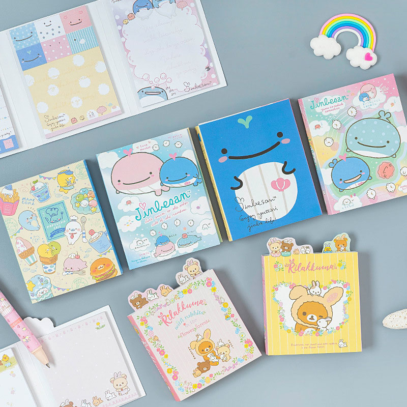 80Sheets/Set Cute Bear Memo Pads Kawaii Sticky Notes Foldable Pads For Kid Girls Gifts School Office Supplies Novelty Stationery