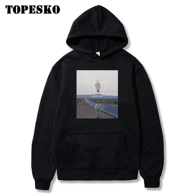 TOPESKOตลกUpside Downนักบินอวกาศพิมพ์Hoodiesเสื้อSpaceman Harajuku Hip Hop Casual Pullover Hooded Streetwear