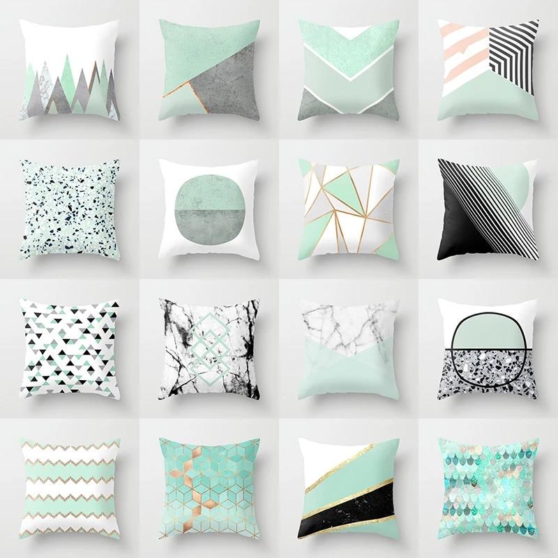 "18/"" Mint Green Geometric Square Cushion Cover Throw Pillow Case Home Sofa Decor"