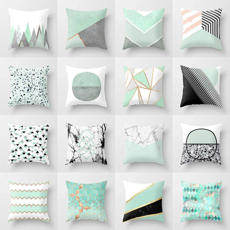 mint cushion cover geometric throw pillow case for home chair sofa decoration square pillowcases