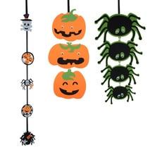 3 Pcs New Halloween pendants Hanging Pumpkin Spider Ghost Bunting Banner Pendant Party Decoration Supplies