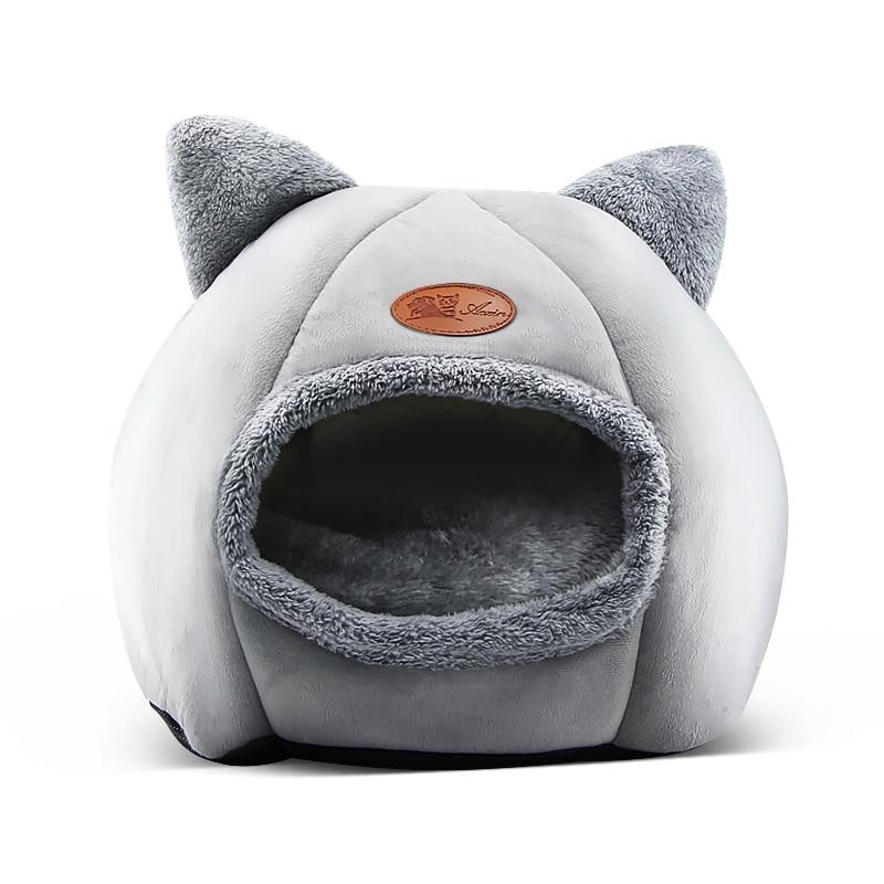 Новый глубокий сон комфорт зимой кошка кровать маленький коврик корзина для Кошкин дом товары палатка для животных Уютная пещера кровати в ...