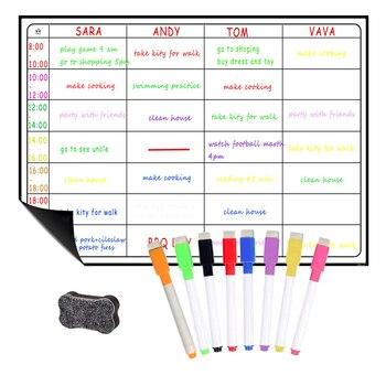 Okul yazı tahtaları planlayıcısı kurulu manyetik beyaz tahta Chore günlük haftalık aylık zamanlama manyetik buzdolabı çıkartmalar 8 kalem