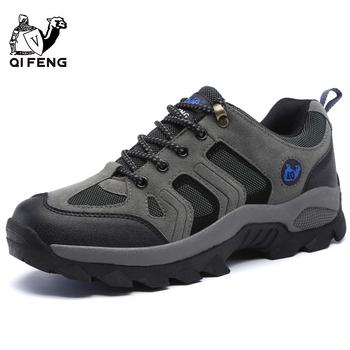 Mężczyźni kobiety Outdoor sportowe obuwie turystyczne oddychająca wspinaczka górska obuwie trampki trekkingowe klasyczne buty casual prezent dla par tanie i dobre opinie QIFENG Unisex Lace-up Suede Pasuje prawda na wymiar weź swój normalny rozmiar Spring2018 Syntetyczny Początkujący Średnie (b m)