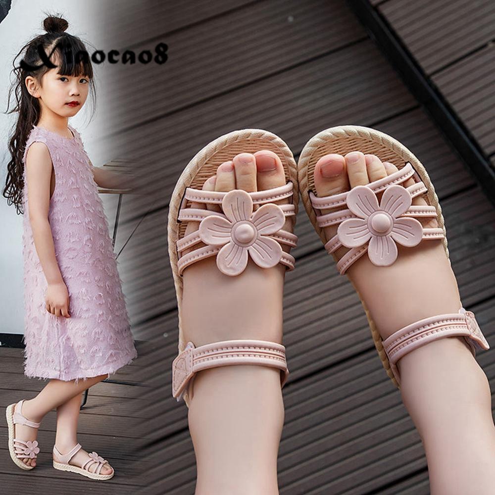 2020 Summer Girls PU Sandals Children Open Tole Flower Shoes Kids Pink Flat With Sandals For Girls Beach Shoes EU25-32