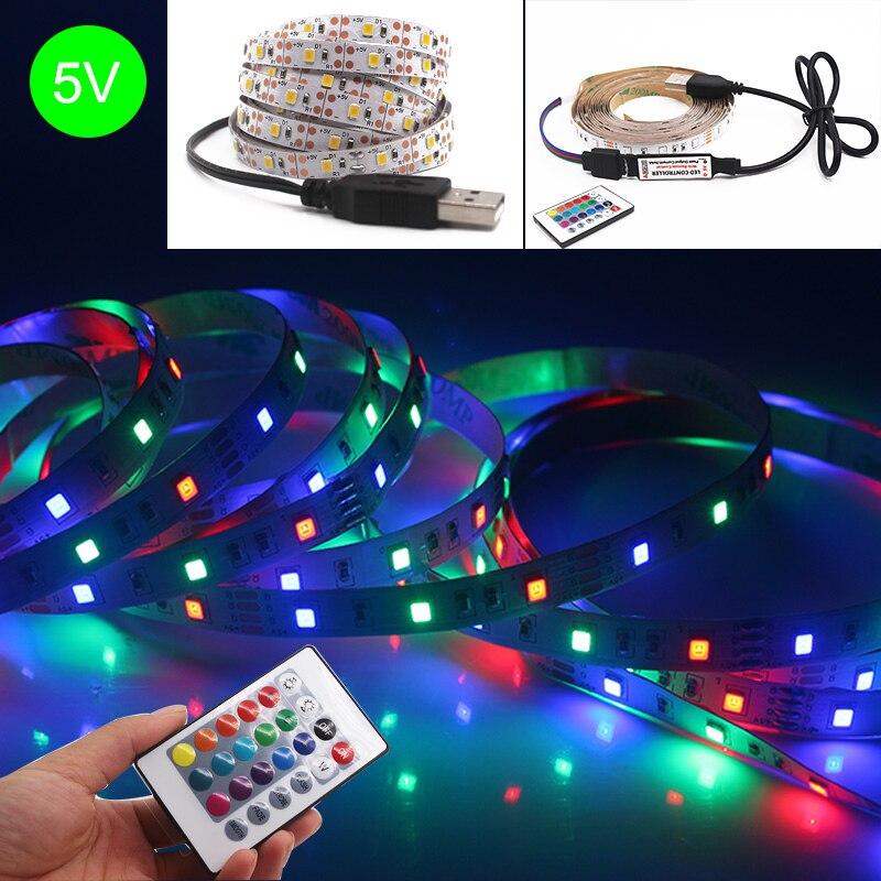 Tira de luces LED Flexible, cinta de luz nocturna de 5V, USB, 2835, CC, 1M, 2M, 3M, 5M, RGB, blanco cálido para iluminación de fondo de TV
