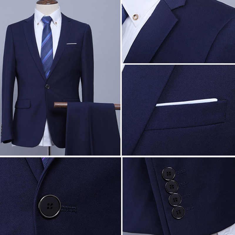 럭셔리 남자 결혼식 2pcs 정장 남성 블레 이저 슬림 맞는 정장 남자 의상 비즈니스 정장 파티 블루 클래식 블랙 선물 넥타이