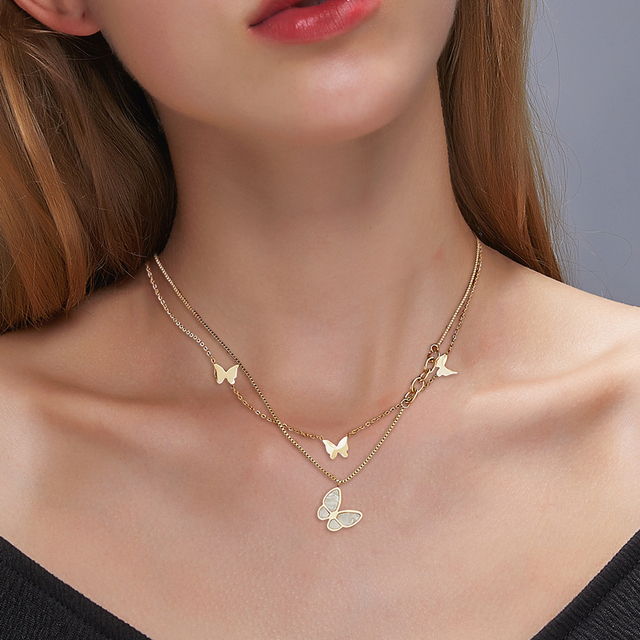 Double Layer Necklace Female Butterfly Pendant Statement Clavicle Chain for Women Street Jewelry Gift 1