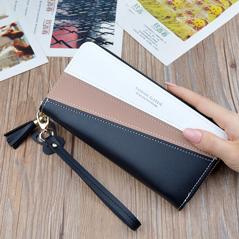 Fashion Patchwork Women Wallets Zipper Money Phone Pocket Long Ladies Clutch Purse Tassel Wallet Women Luxury Card Holder W085