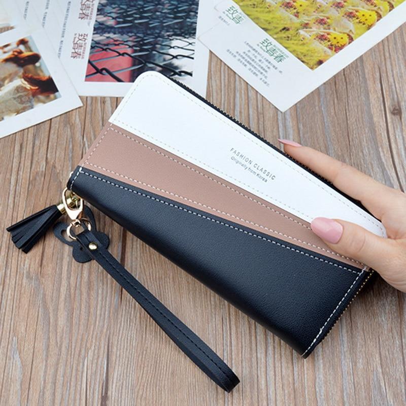 Fashion Patchwork Women Wallets Zipper Money Phone Pocket Long Ladies Clutch Purse Tassel Wallet Women Luxury Card Holder W085