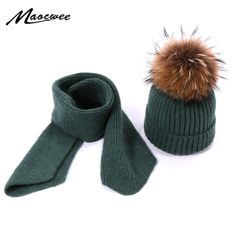 Children Scarf Hat Set Two-Piece Autumn Winter Warm Solid Knitted Scarf Set Beanie Wool Hat Easy Scarves Set Female Hat Scarves