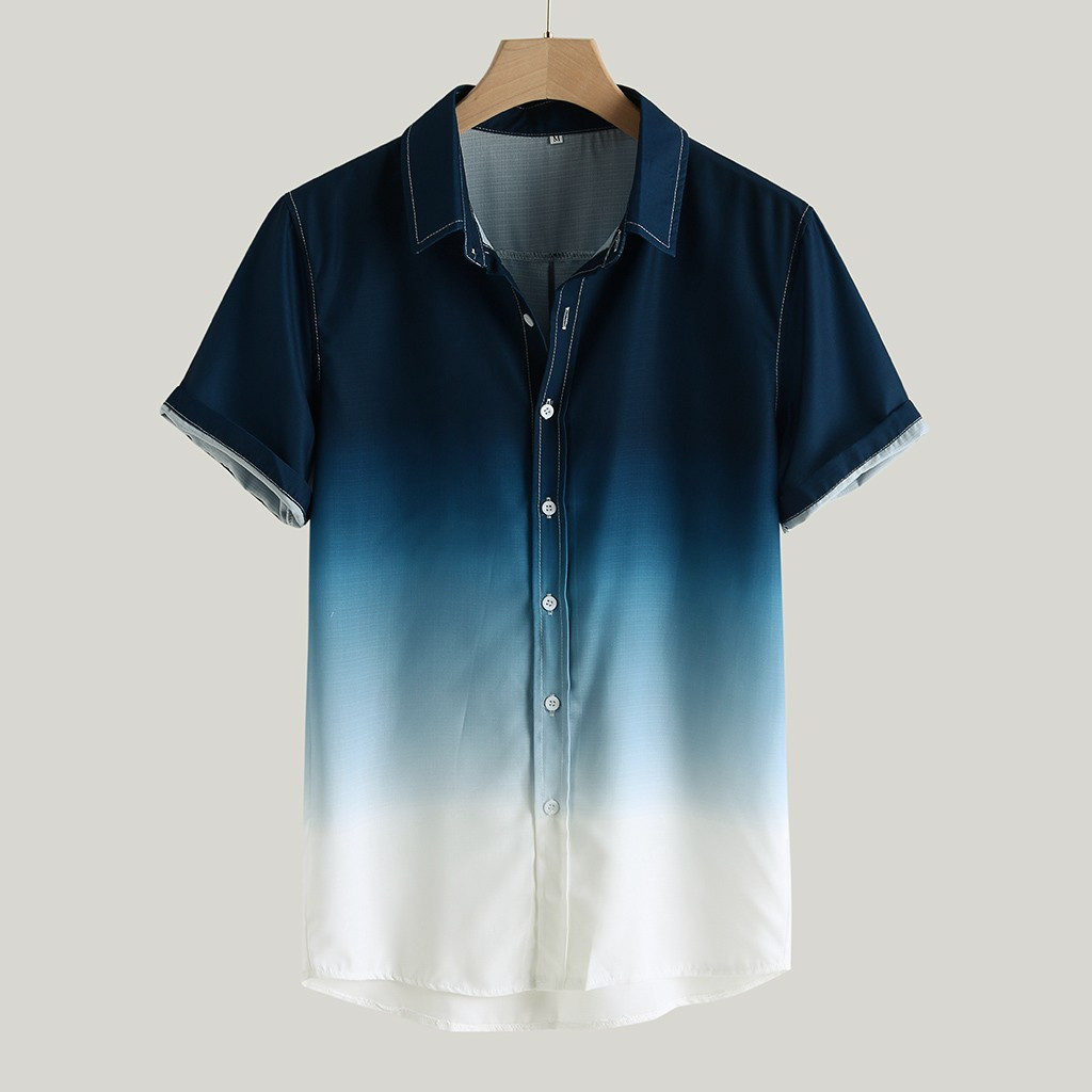 Mens Button Down Shirts Printing Stripe Gradient Casual Short Sleeve Tops
