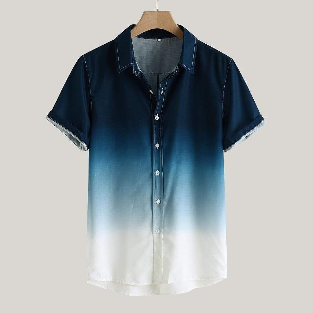 Men's Shirts Camisa Gradient Loose Male Shirt Blusa Masculina Casual Short Sleeve Turn-Down Collar Shirt Men Camisa Masculina