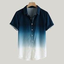 Мужские рубашки camisa, градиентная свободная Мужская рубашка blusa masculina, Повседневная рубашка с коротким рукавом и отложным воротником, мужская рубашка camisa masculina