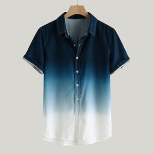 Male Shirt Short-Sleeve Turn-Down-Collar Loose Gradient Casual Camisa Masculina Blusa