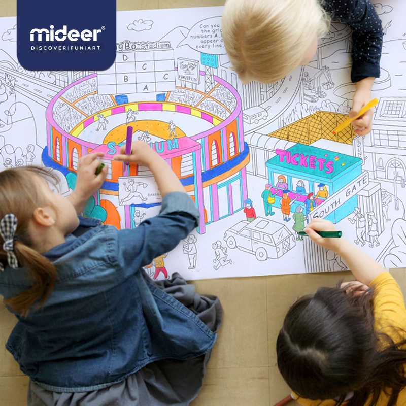 MiDeer Drawing Toys Baby Painting Scroll 10m Giant Theme Scenes Element Of Life 3Y+ Imagination Graffiti Coloring Game
