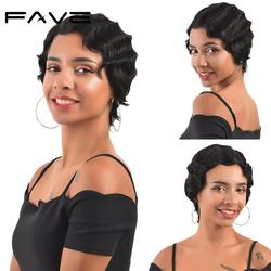 FAVE Short Finger Wave Wigs Brazilian Ocean Wave Wig Pixie Cut Wigs Remy Human Hair Wigs For Black/White Women Bouncy 6 inches
