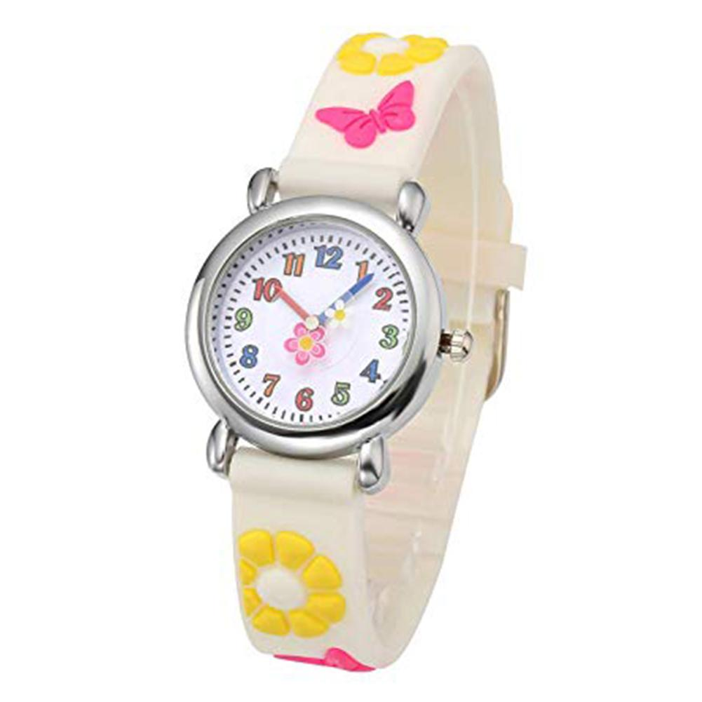 Cartoon Kids Watch Cute Flower Butterfly Silicone Printed Strap Round Dial Analog Quartz Children's Wrist Watches Zegarek Damski