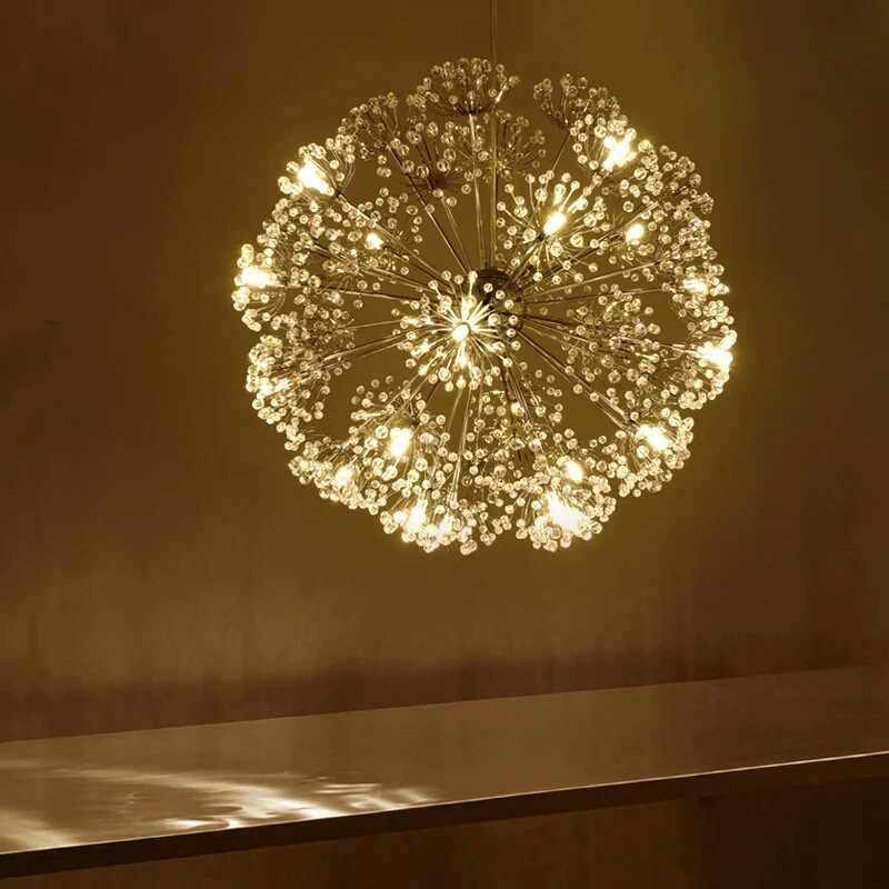 Скандинавский современный круговой Одуванчик хрустальная люстра в форме шара Креативный светодиодный светильник для гостиной, ресторана, бара, лампы для столовой