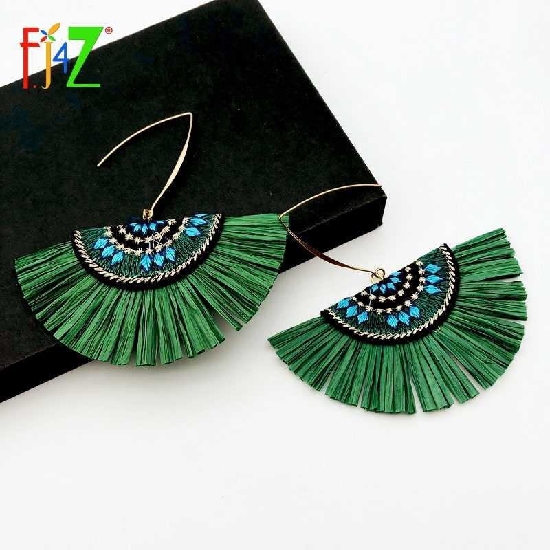 Handmade embroidered drop earrings