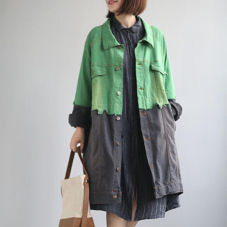 Mode femmes décontracté à manches longues veste coupe-vent col rabattu Denim longues vestes vêtements d'extérieur manteau veste de Streetwear en vrac