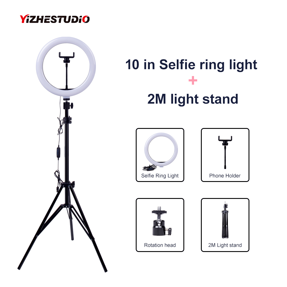 Video Light Dimmable LED Selfie Ring Light USB ring lamp Photography Light with Phone Holder 2M tripod stand for Makeup Youtube image
