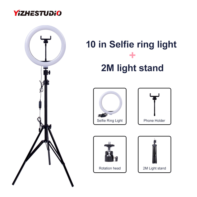 $ US $17.36 Video Light Dimmable LED Selfie Ring Light USB ring lamp Photography Light with Phone Holder 2M tripod stand for Makeup Youtube
