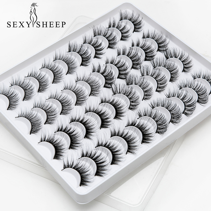 SEXYSHEEP 8/20 Pairs 15-20mm Natural 3D False Eyelashes Fake Lashes Makeup Kit Mink Lashes Extension Mink Eyelashes Maquiagem