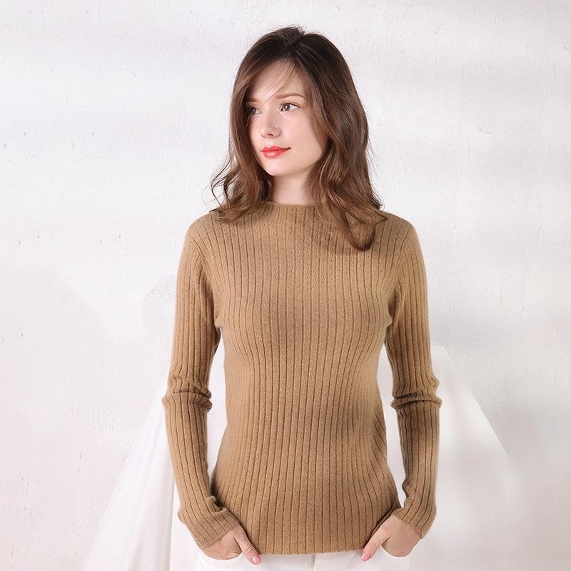 LHZSYY 2019 automne hiver nouvelles femmes demi col pur laine pull mince chaud tricot Base chemise sauvage haut de gamme court cachemire pull