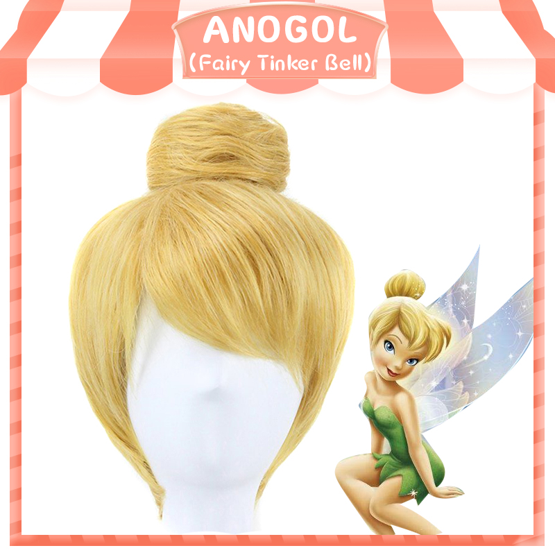 Anogol Short Blonde Fairy Tinker Bell Princess Fancy Dress Cosplay Synthetic Wig For Halloween Party Costume+ Cap