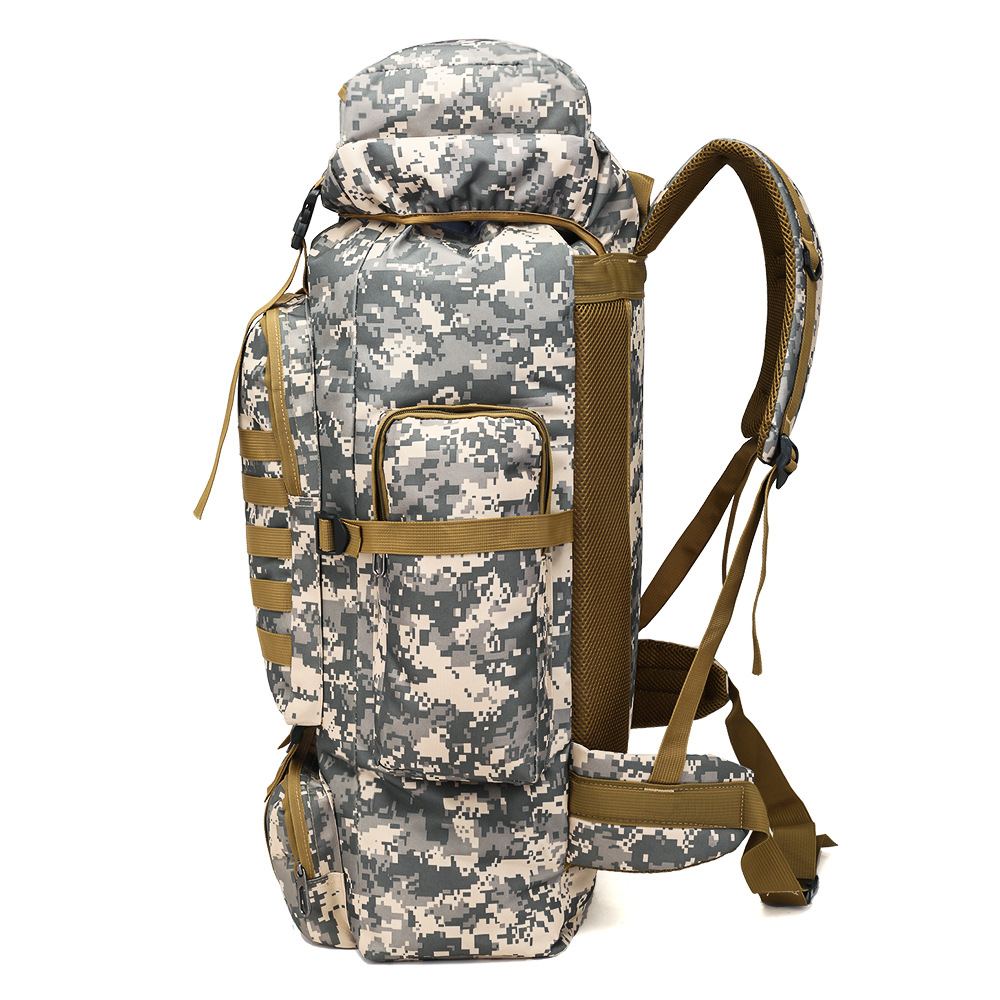 80L Outdoor Large-Volume Tactical Backpack Shoulder Mountaineering Bag Travel Bag Waterproof Rucksack
