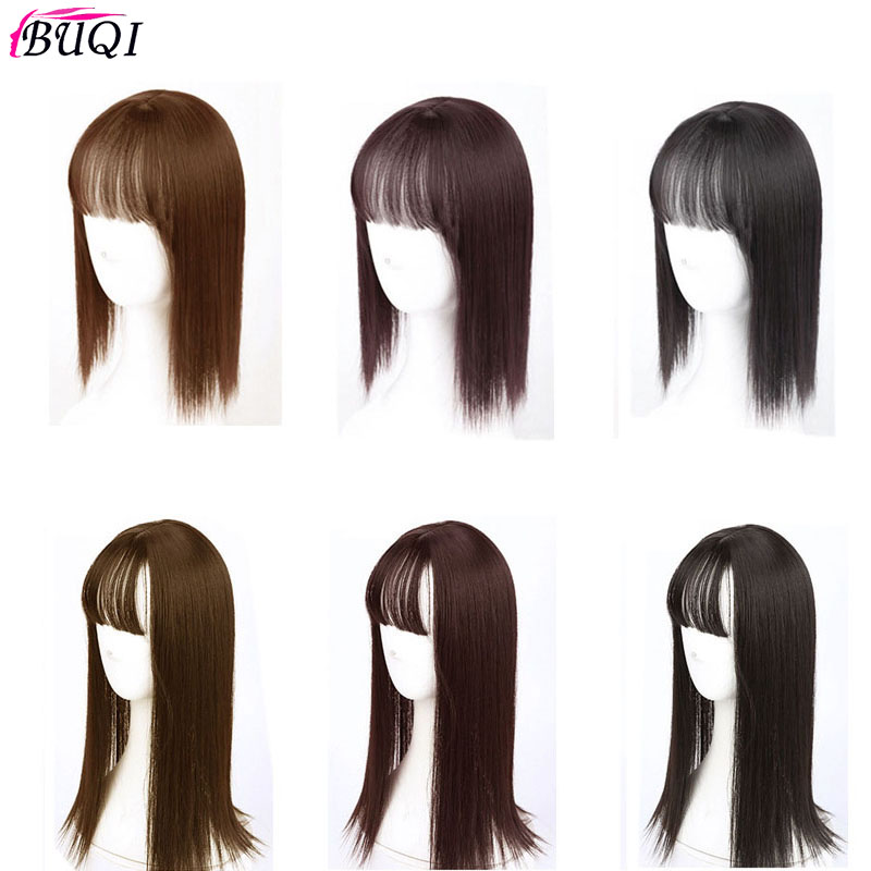 BUQI Women Natural Colors Long Straight Clip Closure Hair Extension High Temperature Synthetic Wig Clip Female Wig