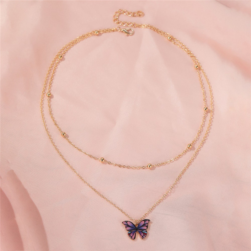 Gold Color Women Fashion Butterfly Pendant Double Layer Necklace Statement Choker Necklace For Women Jewelry Gifts
