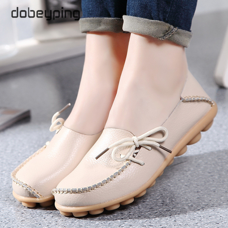 New Moccasins Women Flats 2019 Autumn Woman Loafers Genuine Leather Female Shoes Slip On Ballet Bowtie Women's Shoe Size 35-44