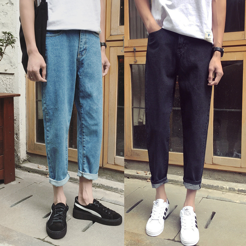 2018 Hong Kong Style MEN'S Wear Solid Color Light Straight-leg Straight-Cut Jeans Japanese Korean Slim Fit Aberdeen Capri Pants