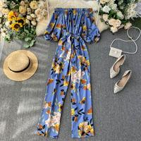 Women's autumn new fashion single collar off shoulder jumpsuits chic slim vintage puff sleeve wide legged pants TB3280