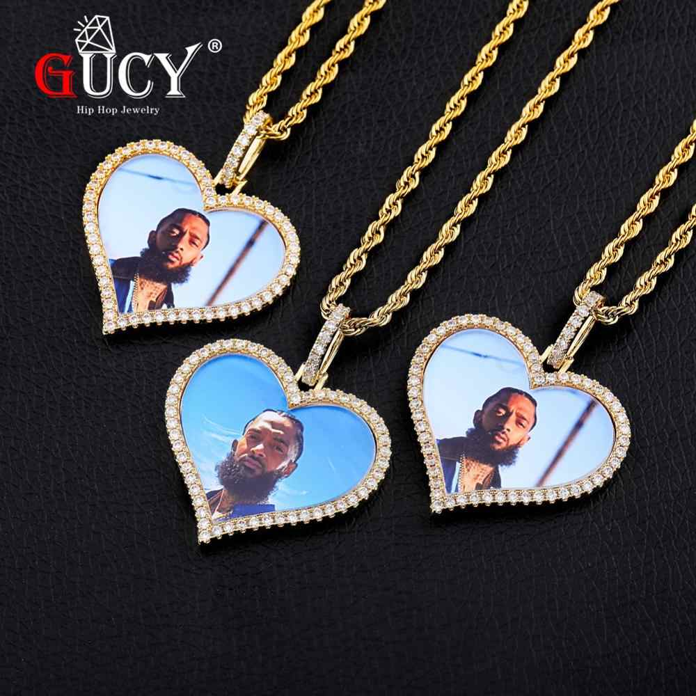 GUCY Heart Custom Made Photo Roundness Solid Back Pendant & Necklace With Tennis Chain Cubic Zircon Men's Hip hop Jewelry