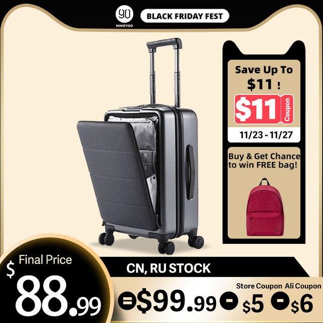 NINETYGO 90FUN לשאת על מזוודות עם ספינר גלגלי 20 אינץ Hardside Hardshell TSA תואם מזוודה מול כיס נעילת כיסוי
