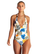 Floral Print Ruched Halter One-Piece Swimsuit Women Cross Cutout Monokini Swimwear 2019  Beach Bathing Suits