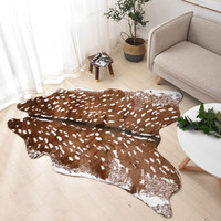 fashion Hot faux deer Printed Carpet Velvet Imitation Leather Rugs Cowhide Animal Skins Natural Shape Carpets Decoration Mats