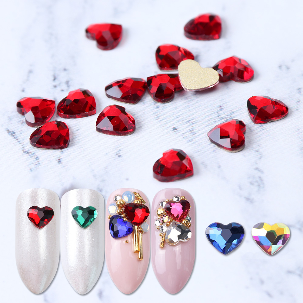 10pcs Flatback Colorful Heart Nail Rhinestones For Nails Art Decorations Crystal Glass Stone Manicure 3D Shiny Strass Gem JI991