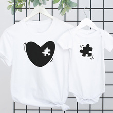 Mommy Me Outfit Heart Puzzle Piece Set Mom Child Matching T-Shirt and One Piece Set Baby Shower Gift Mama and Mini Wear