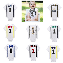 Baby Suspenders Birthday-Outfits Suits Rompers First Little White Bow-Tie Gentleman Boys