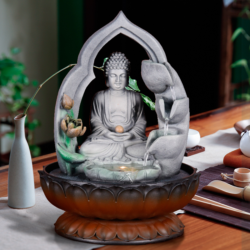 110V 220V Buddha Statue Water Fountain Resin Humidifier Waterscape Lucky Feng Shui Decoration Crafts Fountain As Opening Gifts